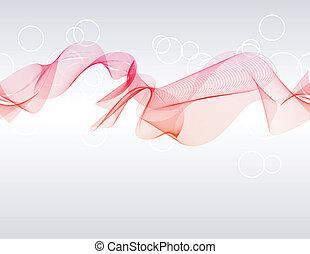 Digital vector waves on light grey background.
