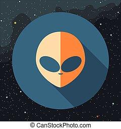 Digital vector with orange alien head sign