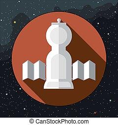 Digital vector with space rocket icon
