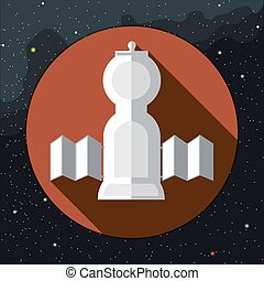 Digital vector with space rocket icon