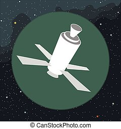 Digital vector with space satellite icon