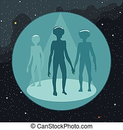 Digital vector with ufo aliens coming