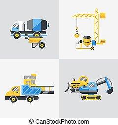 Digital vector yellow construction building tracks icons ...