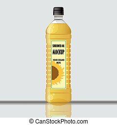 Digital vector yellow sunflower oil plastic bottle