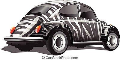 Digital vector zebra strips colored retro