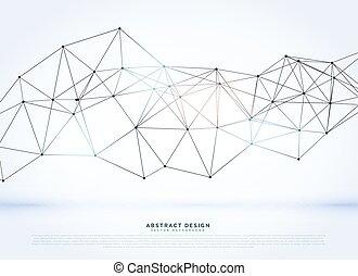 digital, vektor, wireframe, bakgrund, nätverk