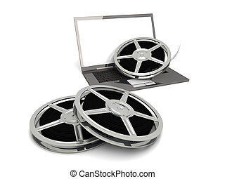 Digital Video - 3D rendered Illustration. Isolated on white....