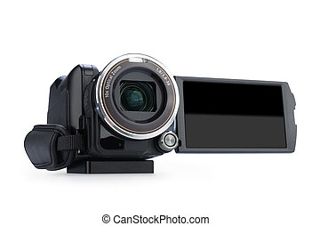 Digital video camera isolated on white background. Screen has a clipping path.