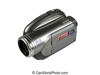 digital video camera isolated on white with clipping path.