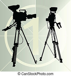 Digital video camera on the tripod and film countdown number...