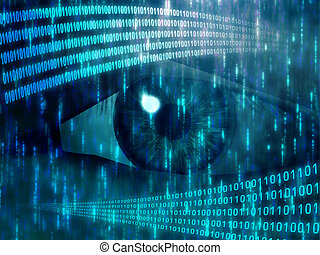 Digital vision - Eye viewing digital information represented...