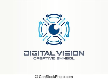 Digital vision creative symbol concept. Circuit robot eye, vr system abstract business logo. Cctv monitor, security scan control, video camera icon