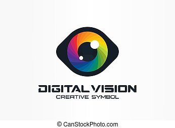 Digital vision, cyber eye, color lens creative symbol concept. Ophthalmology, security abstract business logo idea. Spectrum, rainbow icon