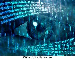Digital vision - Eye viewing digital information represented...