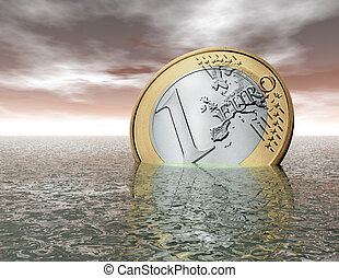 euro - digital visualization of a sinking euro