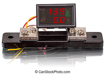 Digital voltmeter and ammeter shunt with isolated on white...