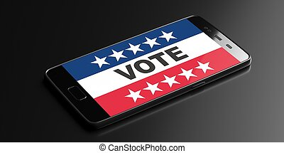 Digital Voting on US America election, VOTE text on a smartphone display, black background. 3d illustration
