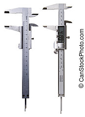 Two Vernier Calipers - Digital and Analog - New and Old - Concept of DIY - Includes Clipping Path