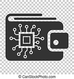 Digital wallet icon in flat style. Crypto bag vector illustration on isolated background. Online finance, e-commerce business concept.