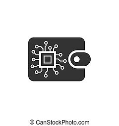 Digital wallet icon in flat style. Crypto bag vector illustration on white isolated background. Online finance, e-commerce business concept.