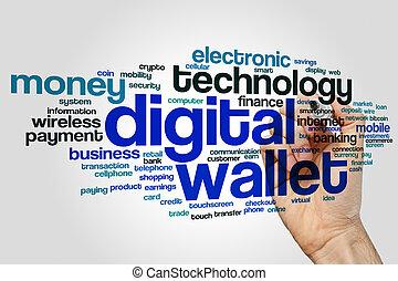 Digital wallet word cloud concept on grey background