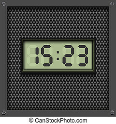 Digital, electronic watch on grey, vector pattern background.
