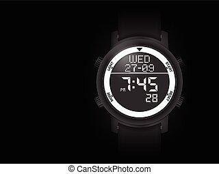 Digital watch on black