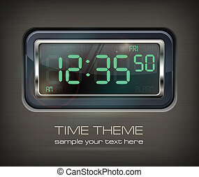 Digital watch & text - Digital watch black with green dial &...