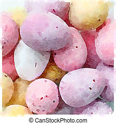 Digital watercolor of mini chocolate eggs sugar coated candy