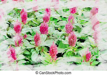 Digital watercolor painting group of Astilbe purple flower in garden