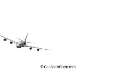 Digital white airplane zooming past