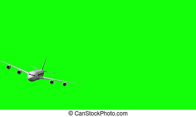 Digital white airplane zooming past on green screen...