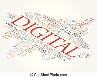 Digital word cloud, technology business concept background