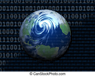 Digital World - A globe set in a digital environment