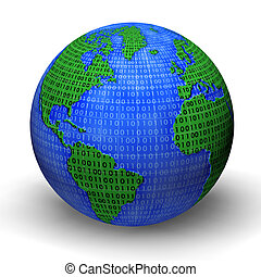 Digital world globe illustration. 3d model.