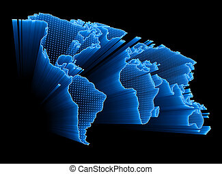 Digital World Map - 3D World Map with dots and lights...