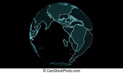 digital World map and grid full latitude and longitude laser scanning