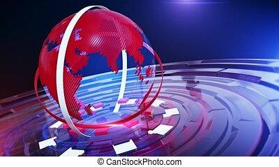Digital World Map News Background loop