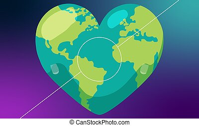 Digital World map on heart with abstract background