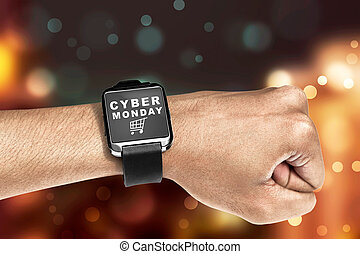Digital wrist watch with Cyber Monday message