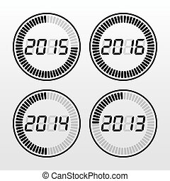 Digital years time icon set.