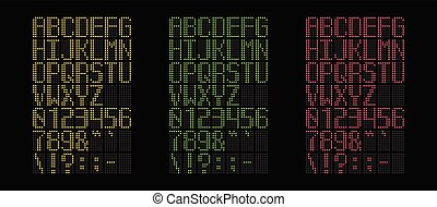Digital yellow, green and red led font isolated on black background, vector illustration