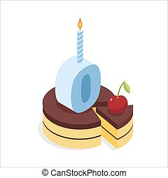 Digital zero birthday chocolate cake. Zero with candle. Celebration of anniversary cake with cherri. Festive meal isometric. Happy holiday