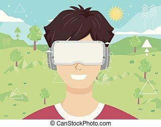 digitale abbildung, umwelt, jugendlich, kerl