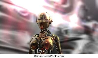 digitale animatie, van, een, fembot