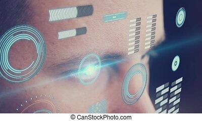digitale animatie, van, oog, kijken naar, futuristisch, interface