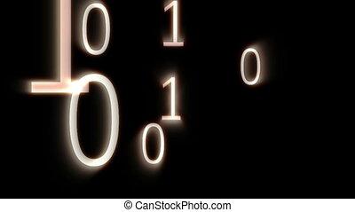 digitale animation, von, binärer, codes, f
