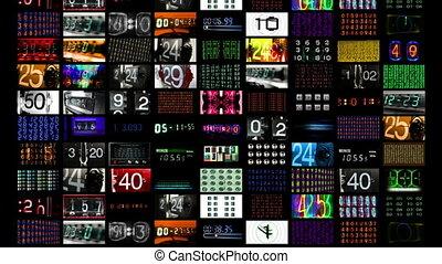 digitale animation, von, hd, schirme, alles, zeigen, zahl, zeit, und, daten, information., alles, zufriedene , selbst, geschaffen