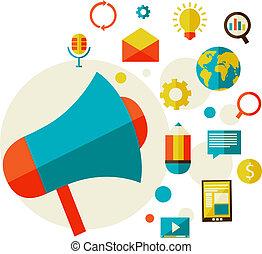 digitale, begreb, markedsføring