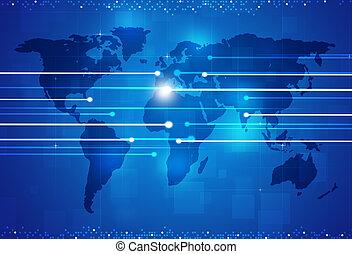 digitale , blauwe achtergrond, aansluitingen, wereld